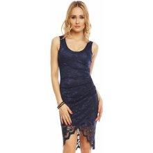 cff65e5f066d Mayaadi Deluxe společenské šaty krajkové s asymetrickou sukní tmavě modrá