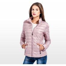 Calzanatta dámská prošívaná podzimní bunda s kapsami na zip růžová 994