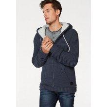 Bruno Banani Pletený svetr s kapucí, modrý melír