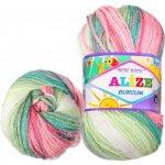 Alize Příze Burcum Bebe Batik 4407 bílá růžová zelená