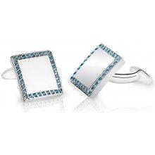 Eppi platinové manžetové knoflíčky s modrými diamanty Walby