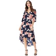 23462432f64 CityGoddess zavinovací šaty s květy Allison modrá