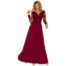 Exkluzivní dámské šaty s výšivkami a dlouhým rukávem dlouhé bordó 65ff50875d