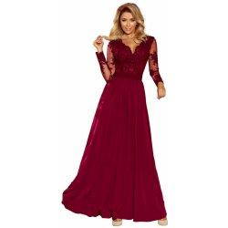 6d3fb502c3c Exkluzivní dámské šaty s výšivkami a dlouhým rukávem dlouhé bordó