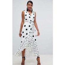 Flounce London zavinovací šaty s černými puntíky bílá 63d28fe2232