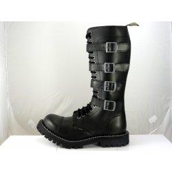 56a2d986551 Steel boty 20 dírkové černé - šněrovací se zipem a přezkami ...