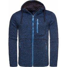 Pánský svetr s kapucí LOAP GODET OLM1724 TMAVĚ MODRÁ