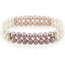 KLENOTA dvouřadý perlový náramek sil1803