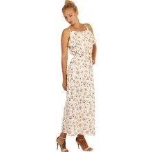 Letní maxi šaty s květinovým vzorem 242485 krémová 875b9db697