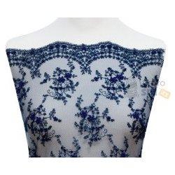c3892351fdff Metráž - krajka TMAVĚ MODRÁ s korálky a flitry LZ92338013 - látka na  společenské šaty