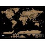 Stírací mapa světa černá