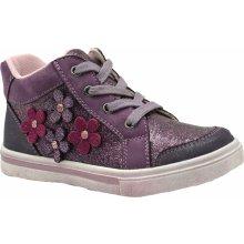 Bugga Dívčí kotníkové tenisky s kytičkami - fialové