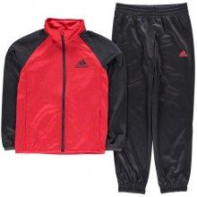 Adidas Ent Polyester Tracksuit Junior Boys DkGrey Red