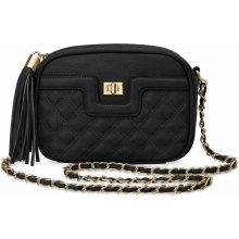 prošívaná chanelka elegantní dámská kabelka listonoška střapce černá ab2690eac1d