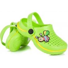 Hasby Lehoučké zelené dětské nazouváky s ozdobou