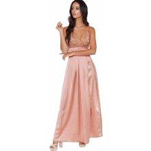 Plesové šaty saténové s flitrovým dekoltem růžová 96a60fa53c