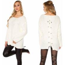 KouCla Dámský oversize svetr se šněrováním na zádech bílý f8181e40cf