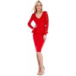 5cecc032f374 CityGoddess elegantní peplum šaty s krajkovým topem červená od 690 ...