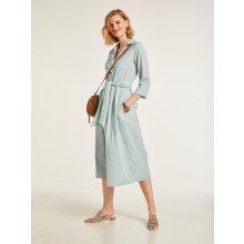 f70f1bba9c83 heine STYLE lněné šaty s páskem na zavázání šalvěj