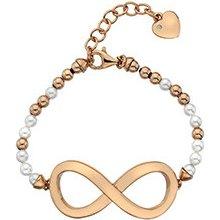 Hot Diamonds stříbrný náramek Infinity Bead Pearl Large Rose Gold DL536