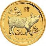 Lunární Zlatá investiční mince Year of the Pig Rok Vepře 1/4 Oz 2019