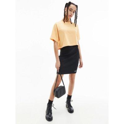 Calvin Klein Jeans dámská sukně Slub Rib Mini Skirt černá