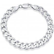 Stříbrný řetěz na ruku CURB rhodiovaný TTT850BL