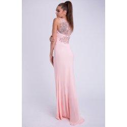 Eva   Lola dámské luxusní společenské šaty s korálky pudrová fe991c7180