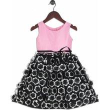 Joe and Ella Fashion Dívčí šaty Kara Floral růžovo-černé