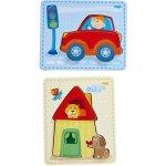 Haba dřevěné puzzle dům a auto