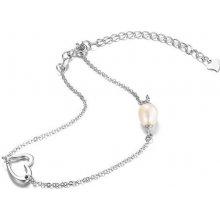Eppi Stříbrný romantický náramek s perlou Mety BR33747