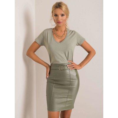 Dámská lesklá sukně s ozdobnou sponou dhj-sd-3029.06 khaki