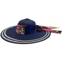 Bleskovynakup.cz Dámský letní slaměný klobouk sříbrný okraj modrý s  barevnou trendy mašlí 2e2344d5d1