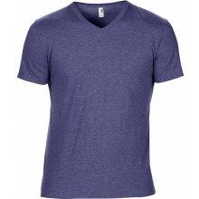 Tričko V-výstřih Námořnická modrá žíhaná