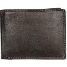 Celá kožená tmavě peněženka bez značek a nápisů hnědá