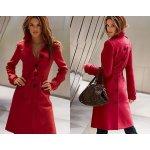 Flaušový kabát červený