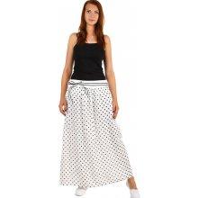 Glara Dlouhá lněná sukně s puntíkama bílá 240588 9c80e0fbe0