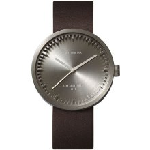 LEFF Tube watch steel / brown leather strap