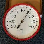 Apator Velký nástěnný bimetalový teploměr, průměr 225 mm - červený