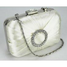 psaníčko LSE0071 Ivory Gorgeous Satin Rouched Brooch Hard Case Ivory Evening