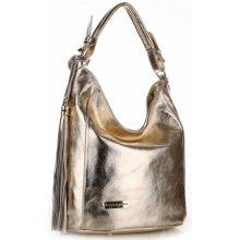 Vittoria Gotti Made In Italy Eegantní kožená kabelka zlatá 71feb342ba8