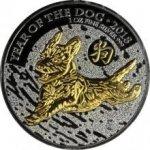 Lunární The Royal Mint Stříbrná Ruthenium mince pozlacený Rok Psa1 Oz Golden Enigma 2018