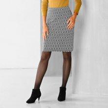 Blancheporte rovná sukně s grafickým vzorem černá 5dc04042d5