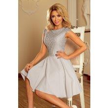 Numoco dámské společenské šaty krajkové šedá 2d6221e026