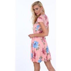 c2eb43f276f4 Dámské šaty Květinové dámské šaty s délkou nad kolena lososově růžová