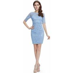 Krátké krajkové šaty koktejlky s rukávem světle modrá 0353f527fd0