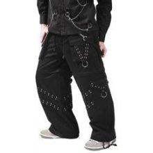Metalové kalhoty pánské dlouhé s průchodkami