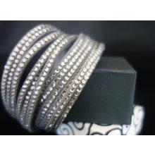Shine bižuterní textilní náramek s krystalky šedý TN004