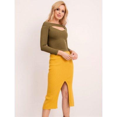 Pletená dámská sukně s rozparkem bsl-sd-12810 dark yellow