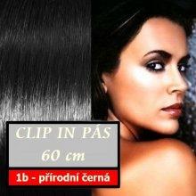 Clip in vlasy, 60 cm dlouhý pás vlasů - rovný, odstín 1b přírodní černá